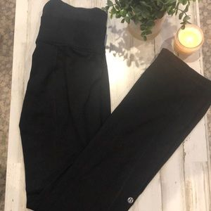 Black flared double banded pants